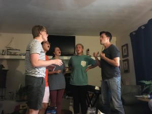 NewDos performing one of our new songs in a quartet for the rest of group, a way we practiced blending during Rehearsal Week