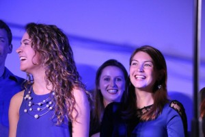 Caroline and Allison laugh during one of the senior speeches!